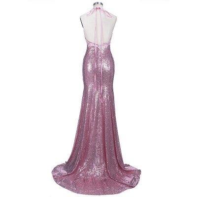 Spaghettis-Straps Rose Pink Sequins Prom Dresses   Sparkly Long Mermaid Formal Dress_7