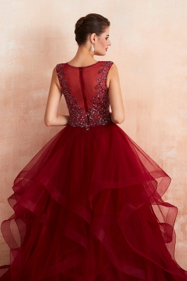 Sleeveless V-neck Sexy Long Tiered Beaded Prom Dresses | Elegant Organza Long Evening Dresses_10