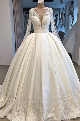 Princess V Neck Long sleeve Beading Pearls Sequin Ball Gown Wedding Dresses |  Puffy Illusion Back Bridal Gown
