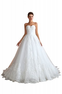 Floor Length Strapless Sweetheart A-line Gorgeous Lace Wedding Dresses_1