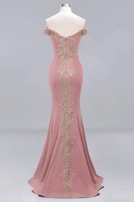 Simple Off the Shoulder Appliques Fitted Floor Length Evening Gown_11