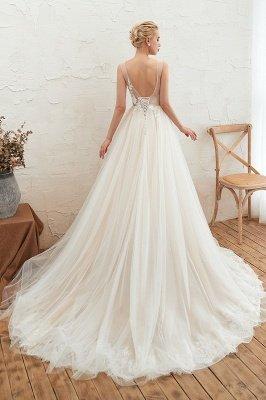 Gorgeous V-neck Straps A-line Floor Length Lace Tulle Wedding Dresses_8