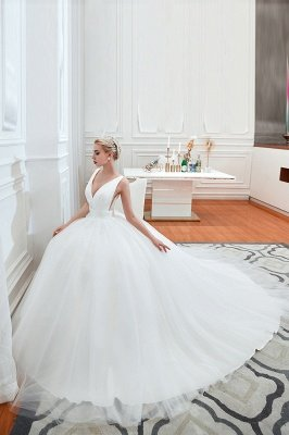 Elegant Floor Length V-neck Straps Belted A-line Tulle Wedding Dresses_4