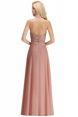 Elegant Halter A-line Appliques Chiffon Long Bridesmaid Dresses | Simple Wedding Guest Dresses_28