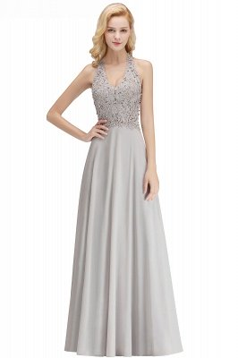 Elegant Halter A-line Appliques Chiffon Long Bridesmaid Dresses | Simple Wedding Guest Dresses_20
