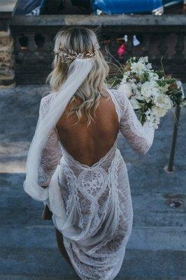 Gorgeous Jewel Long Sleeves Floor Length Open Back Sheath Lace Wedding Dresses | Destination Bridal Dresses_3