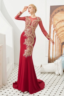 Gorgeous Form-fitting Long Sleeves Floor Length Prom Dresses | Long Beaded Evening Dresses