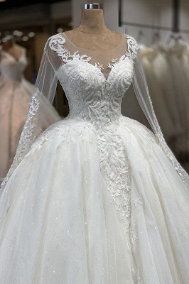 Glassic Long Sleeve Scoop A Line Lace Wedding Dresses | Applique Beading Puffy illusion Back Bridal Gown_4
