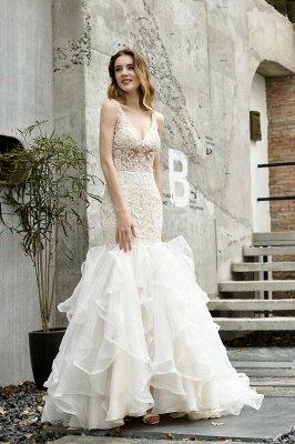 Tulle Lace Sleeveless Sexy Mermaid Wedding Dress_6