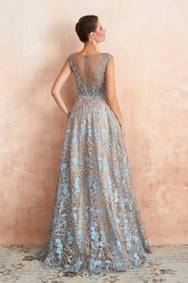 Bateau Cap Sleeves Belted Sexy Long Lace Prom Dresses | Gorgeous Lace Evening Dresses_4
