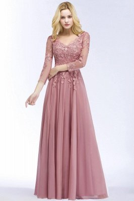 Elegant Chiffon Lace Dusty Rose Evening Dress_5