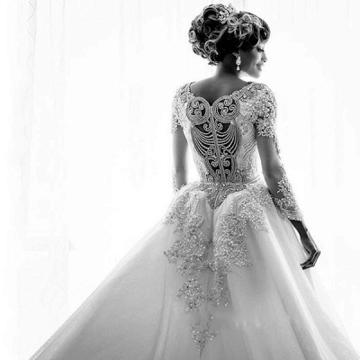 Luxury Lace Appliques Mermaid Wedding Dresses  | Beads Long Sleeve Gorgeous Bridal Gowns_5