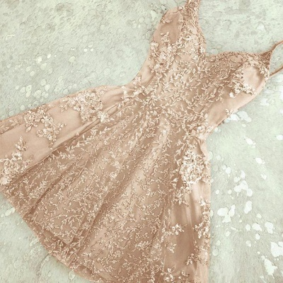 Luxury Crystals Homecoming Dresses Spaghettis Straps A-line Short Prom Dresses_1