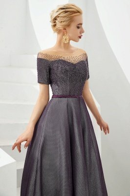 Glamorous Round Neckline Short Sleeves Beaded Belt A-line Floor Length Prom Dresses_5