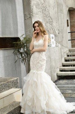 Gorgeous Floor Length Tulle Appliques Mermaid Wedding Dress_8