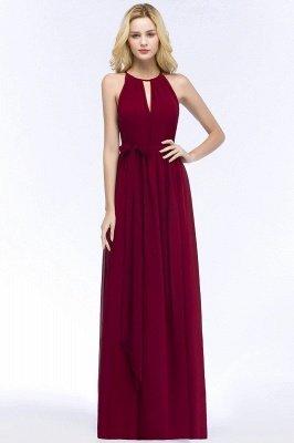 A-line Halter Floor Length Burgundy Bridesmaid Dress with Bow Sash_1
