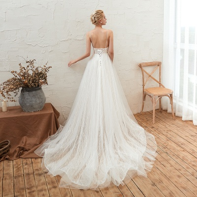 Gorgeous Spaghetti Straps Sweep Train V-neck Lace-Up Lace Wedding Dresses_12