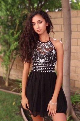 Halter Short A-Line Black Crystal Open-Back Homecoming Dress_2