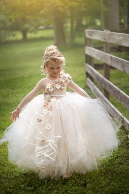 Jewel Sheer Long Sleeves Puffy Tulle Flower Girl Dresses with Handmade Flowers