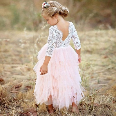 Cute Long Sleeves Jewel Tea Length Lace Tulle Flower Girl Dresses_5