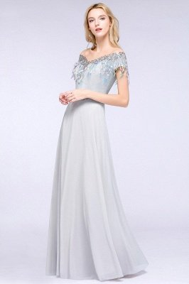 A-line Jewel Short Sleeves Sequins Evening Dress with Tassels On Sale_4