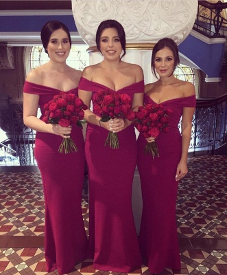 Burgundy Floor Length Form-fitting Bridesmaid Dresses | Cheap Maid of Honor Dresses_1