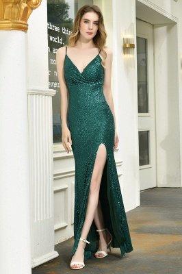 Black Spaghetti Strap V Neck Sequined Front Slit Floor Length Sheath Prom Dresses | Backless Evening Gown_9