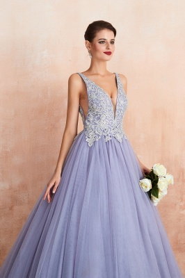 Straps V-neck Sexy Applique Long Prom Dresses | Glamorous Puffy Evening Dresses_9