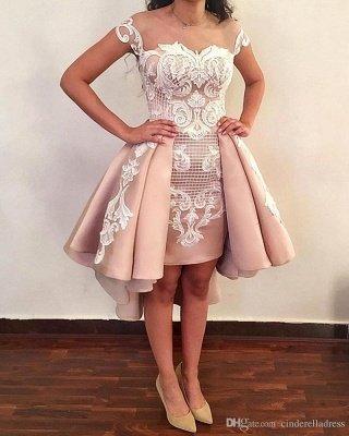 Latest Hi-Lo Prom Dresses | Pink Short Puffy Homecoming Dresses_2