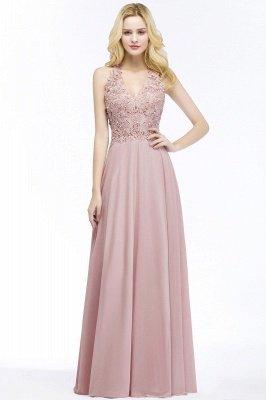 Cheap A-line V-neck Sleeveless Long Appliques Chiffon Bridesmaid Dress in Stock_2