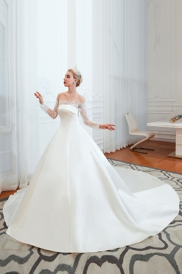 Off the Shoulder Long Sleeves Lace Up Floor Length A-line Lace Wedding Dresses_5