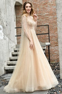 Georgeous Bateau Beading Crystal Prom Dresses | Floor Length A Line Evening Gown_8
