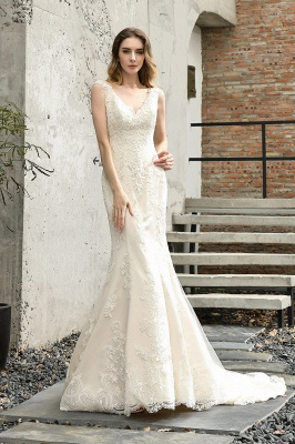Glamorous Floor Length Open Back Mermaid Lace Wedding Dresses