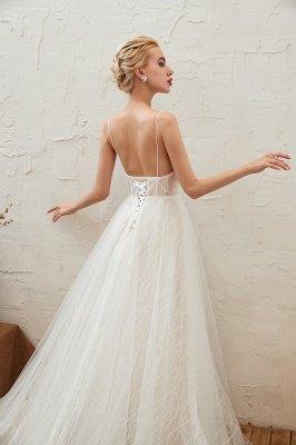 Gorgeous Spaghetti Straps Sweep Train V-neck Lace-Up Lace Wedding Dresses_17