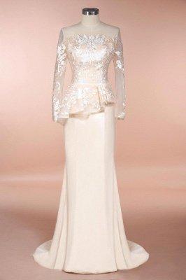 Elegant Jewel Floor Length Long Sleeves Peplum Champagne Prom Dresses_1