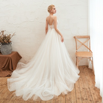 Elegant Spaghetti Straps Lace Up A-line Floor Length Lace Tulle Wedding Dresses_14