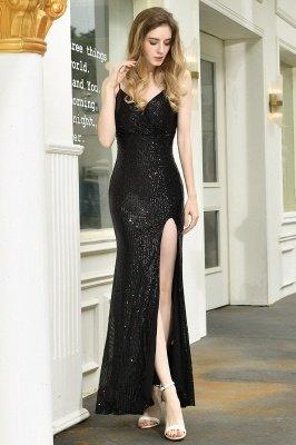 Black Spaghetti Strap V Neck Sequined Front Slit Floor Length Sheath Prom Dresses | Backless Evening Gown_22