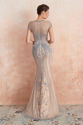 Cap Sleeves Keyhole Jewel Gorgeous Beaded Long Prom Dresses | Elegant Long Evening Dresses_12