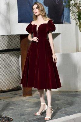 Burgundy Flare Sleeve Deep V Neck Tea Length A Line Prom Dresses | Ruffles Evening Dresses_11