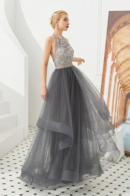 Stylish Floor Length Halter Beaded Tiered Blackless Tulle Prom Dresses_6