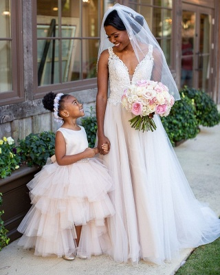 Elegant Jewel Sleeveless Belted Satin Tulle Flower Girl Dresses_2