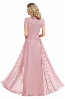 Short Sleeves Floor Length Jewel Chiffon Bridesmaid Dresses | Burgundy Prom Dresses_4