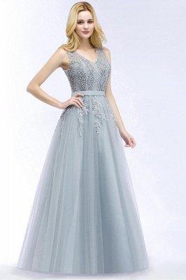 Stylish V-neck Tulle Lace Long Evening Dress_1