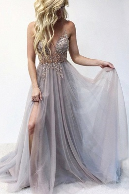 Spaghetti Straps V-neck Sheer Top Sexy Long Prom Dresses with Side Slit | Elegant Tulle Evening Dresses_10