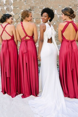 Satin Convertible Long Sexy Bridesmaid Dresses | Elegant Wedding Guest Dresses_3
