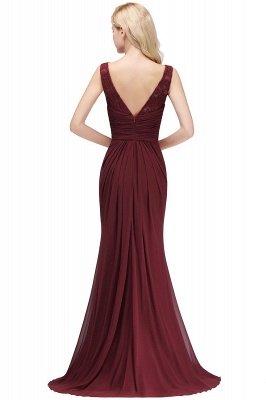 Mermaid Burgundy Chiffon Ruffles Evening Dress On Sale_3