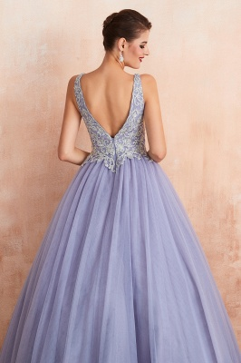 Straps V-neck Sexy Applique Long Prom Dresses | Glamorous Puffy Evening Dresses_10