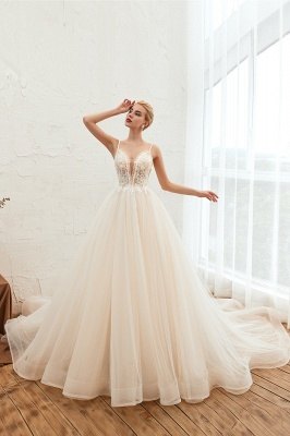 Gorgeous Spaghetti Straps V-neck Floor Length A-line Lace Tulle Wedding Dresses_6