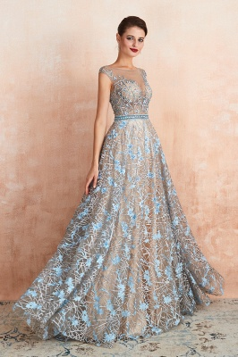 Bateau Cap Sleeves Belted Sexy Long Lace Prom Dresses | Gorgeous Lace Evening Dresses_5