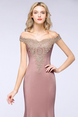 Simple Off the Shoulder Appliques Fitted Floor Length Evening Gown_25